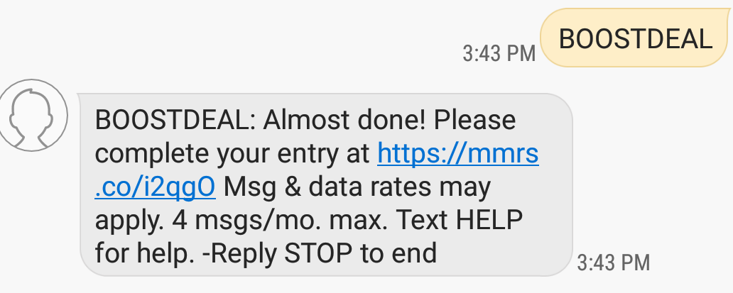 Boost Mobile Text to Win Sweepstakes - Sweeppea
