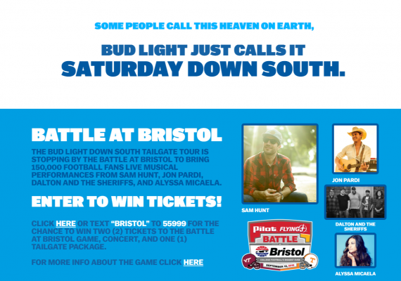 Bud Light Down South Text-to-Win
