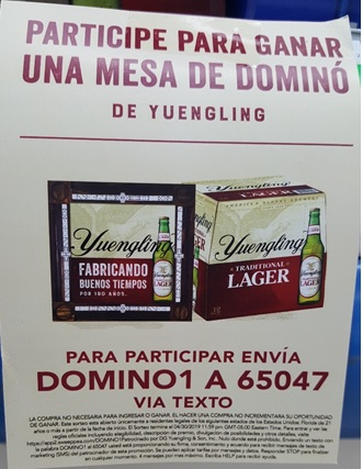D. G. Yuengling & Son Brewery Text to Win Sweepatkes Targets Hispanic Consumers in Spanish - Case Card