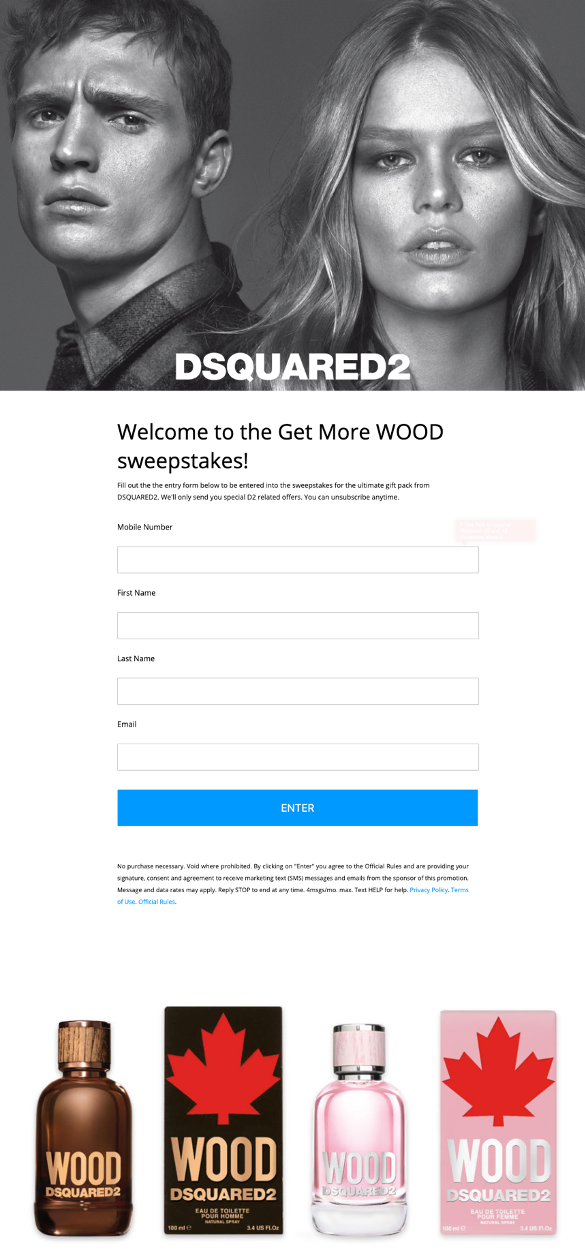 Dsquared2 Wood Fragrance Text to Win Sweepstakes Entry Page