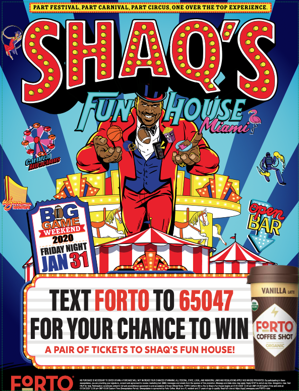 FORTO Coffee's Win a Trip to Shaq's Fun House Sweepstakes - Case Cards