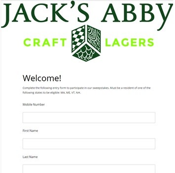 Jack's Abby Brewery Text to Win Sweepstakes Entry Page
