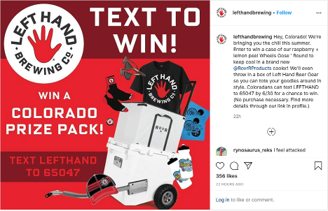 Left Hand Brewery Sweepstakes - Instagram Post