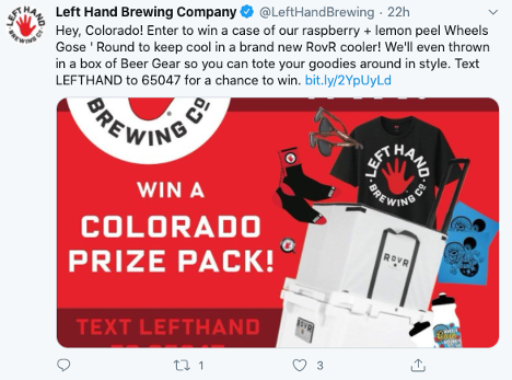 Left Hand Brewery Sweepstakes - Twitter Post