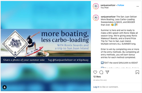 San Juan Seltzer Text to Win Sweepstakes Instagram Post