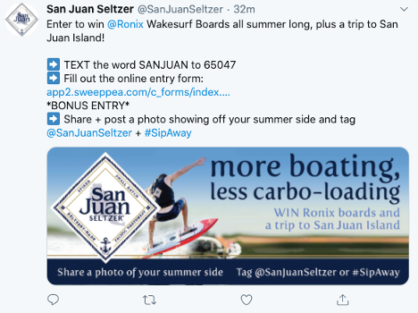 San Juan Seltzer Text to Win Sweepstakes Twitter Post