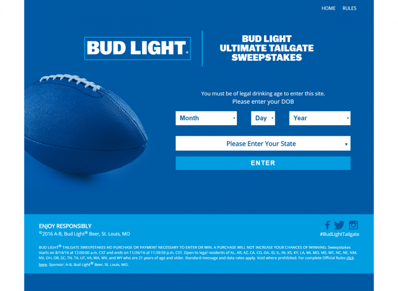 Bud Light Text-to-Win Ultimate Tailgate Sweepstakes - Text-To-Win
