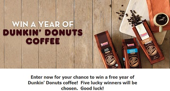 A free year of product but only email entry from Dunkin'