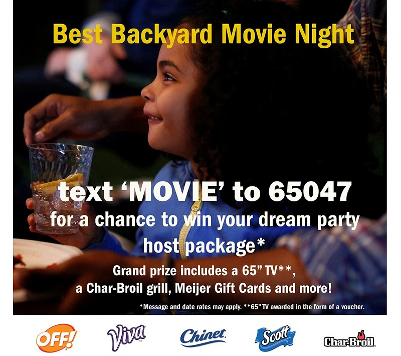 Backyard Movie Night Text to Win Promotion by Chinet at Meijers