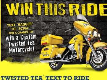 Text-to-win sweepstakes with a motorcycle prize